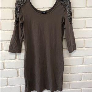 H&M Beaded Shoulder Detail Dress